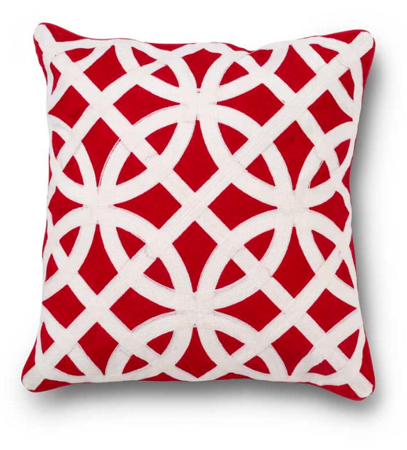 19 Inch Square Red and White Pillow with Interlocking Circle Design