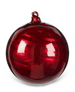 7 Inch Lg Round Red Glass Ornament with Ribbon Swirl