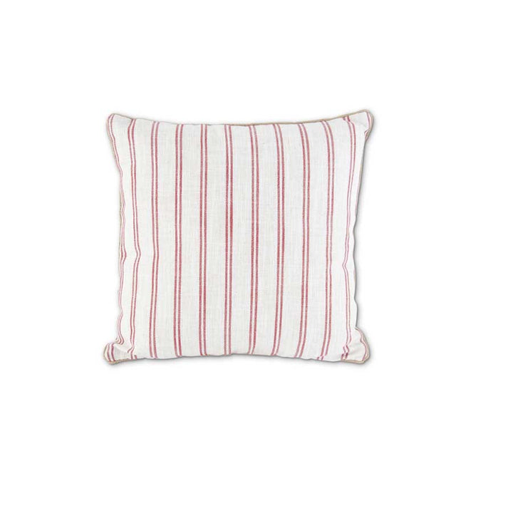 17 Inch Cream with Red Stripe Square Pillow