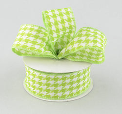 "7/8"" x 10yd Lime Green White Houndstooth wired edge ribbon"