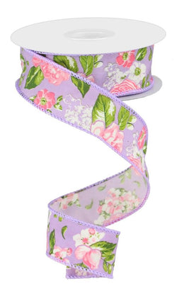 "1.5""X10yd Floral Print on Lavender Wired Ribbon-Pink, Green, White, Purple"