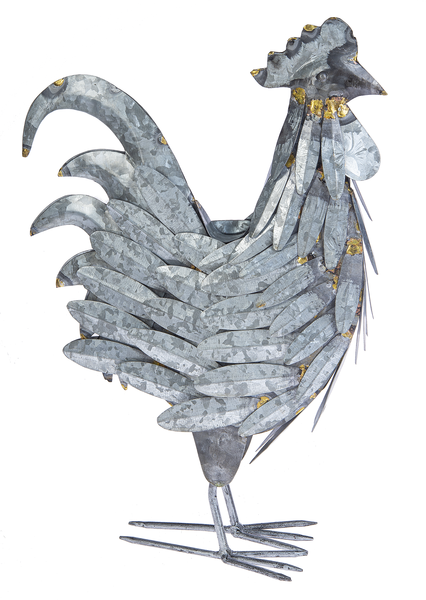 Ganz CB174759 Galvanized Rooster with Gold Accents, 16-inch Height