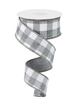 "Plaid Check Wired Edge Ribbon - 10 Yards (Grey, White, 2.5"")"