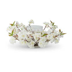 17 Inch Cream Cherry Blossom Hurricane Candle Holder