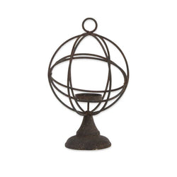 9.5 Inch Metal Atlas Globe Single Candle holder on Round Base