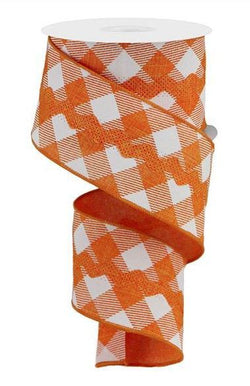 "2.5""X10yd Diagonal Check/Royal Ricrac Wired Edge Ribbon"