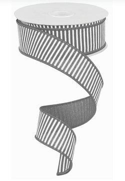 "1.5""X10yd Grey Horizontal Stripes on White Royal Wired Edge Ribbon"