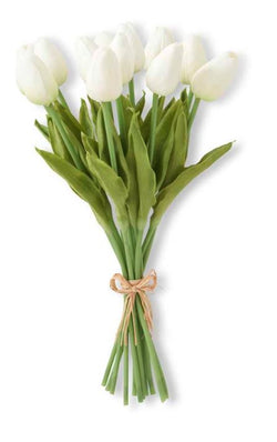 "13.5"" White Real Touch Mini Tulip Bouquet"