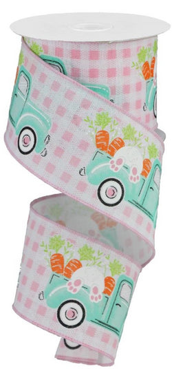 Easter Bunny and Carrots in Truck Wired Edge Ribbon, 10 Yards (Light Pink Gingham, 2.5 Inch)