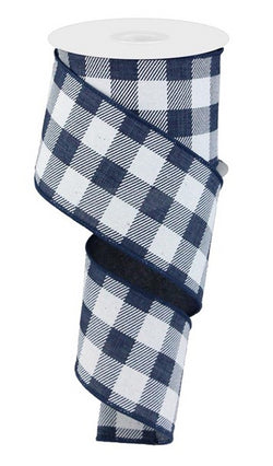 "Plaid Check Wired Edge Ribbon, 10 Yards (Navy Blue, White, 2.5"")"