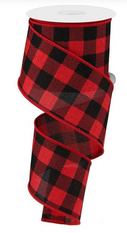 "2.5""X10yd Red and Black Plaid Check On Royal wired Edge Ribbon-Lumberjack"