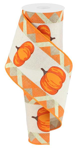 "Fall Thanksgiving Ribbon with Wired Edge and Pumpkin Print-4"" x 10 yds"