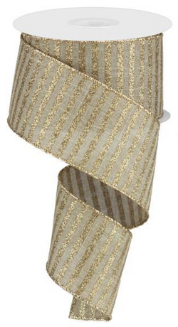 "2.5""X10yd Gold Glitter Stripe On Royal Ribbon with Wired Edge"