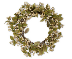 24 Inch Cream Berry Wreath with Green Leaves