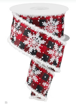 Glittered Snowflake with Snowdrift Wired Edge Ribbon - 10 Yards (Red, Black Plaid, 2.5 Inches)