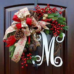 Christmas wreath~farmhouse decor~Sleigh Bells~front door wreath~rustic bell wreath~red berry wreath
