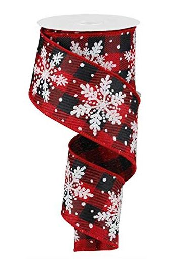 Glittered Snowflake Wired Edge Ribbon - 10 Yards (Red, Black, White, Silver, 2.5