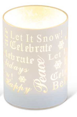 "4.75"" Matte White LED Glass Candle With Holiday Messages"