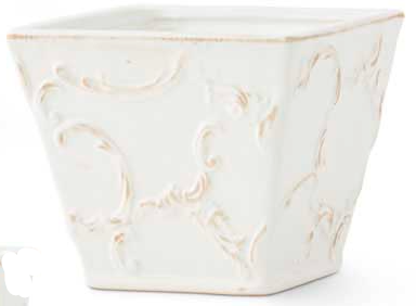 White 5.75 Inch Ceramic Square Short Pot with Scroll Design