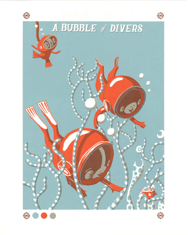 BUBBLE OF DIVERS Screen print