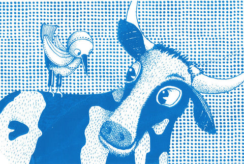 COW AND BIRD Screenprint