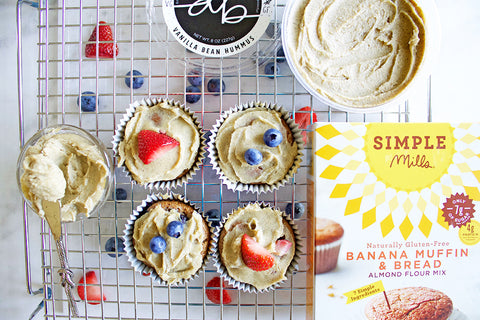 Fruity Banana Muffins frosted with Vanilla Bean Dessert Hummus