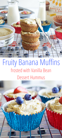 Fruity Banana Muffins frosted with Vanilla Bean Dessert Hummus | Delighted By Hummus