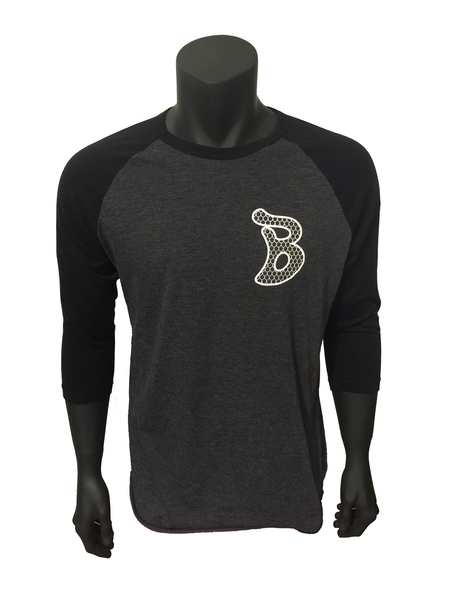 "Baseball heather tee. Features Blobfish ""B"" scale logo large on the left chest. Black sleeves and soft grey body"
