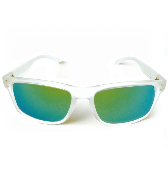 Matte clear frame BlobFish shades with an aquamarine gradient lens