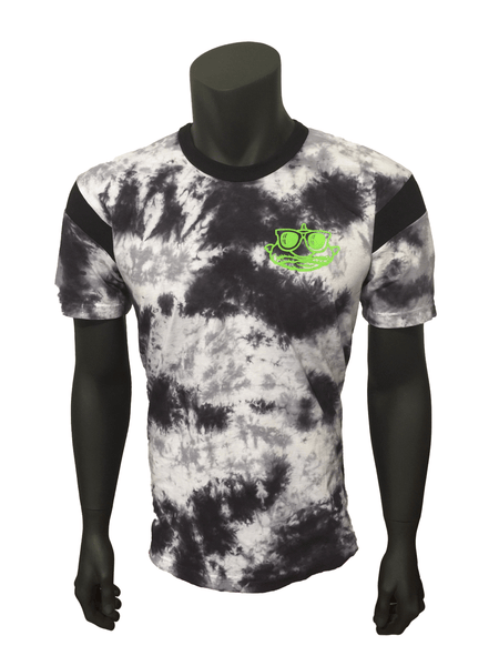 Unique Hand tie-dyed Stone colored shirt with neon green BlobFish mascot on left chest