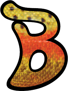 "Blobfish ""B"" logo sticker with cutthroat trout scale design"