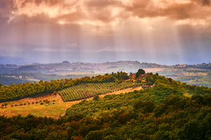 Clearing storm over Tuscany Italy