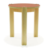 bamboo side table red top