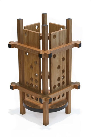 Modern bamboo table lamp with float up holes