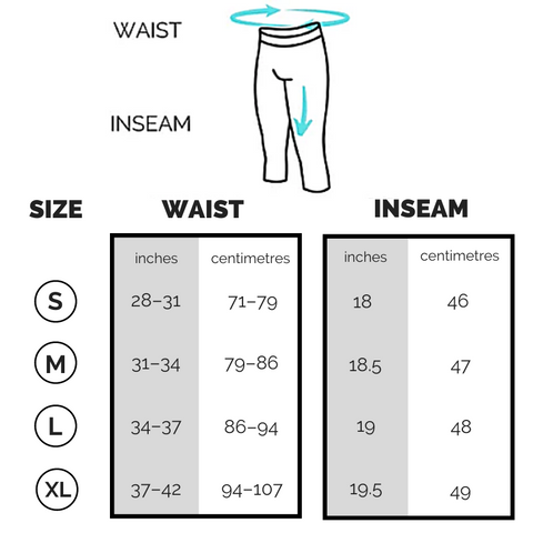 Kapow 3/4 Length Sizing Chart