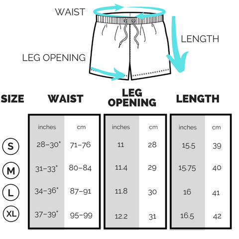Kapow Shorts Sizing Chart