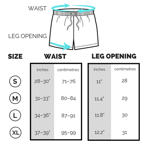 Shorts sizing chart