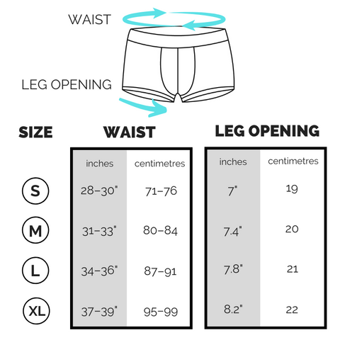 Boxer briefs sizing chart