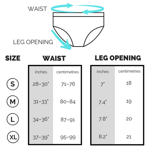 Briefs sizing chart