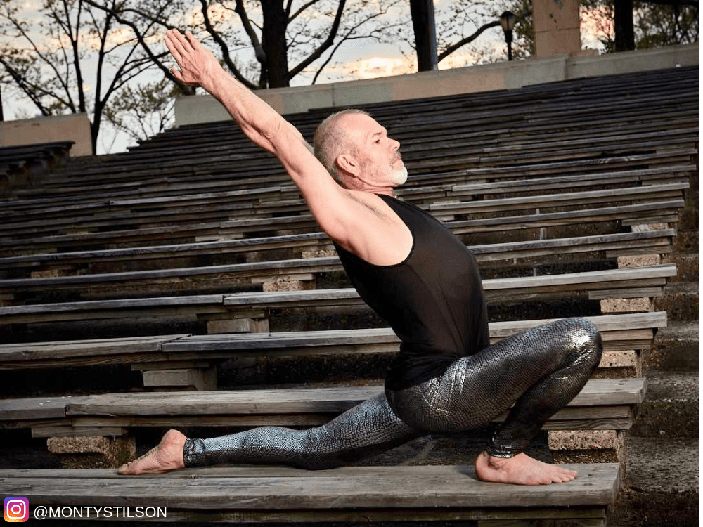 Yoga Instructor in silver snakeskin kapow meggings