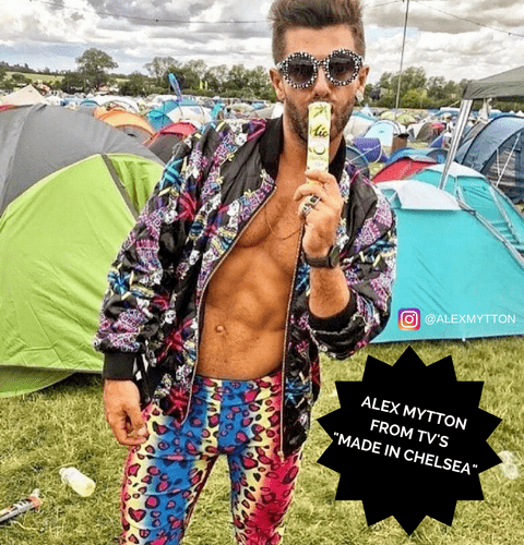 alex mytton from made in chelsea in kapow party leopard meggings at festival