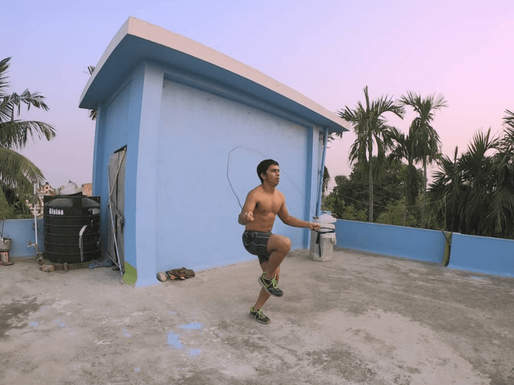 ayan from kolkata parkour skipping on rooftop mens leggings