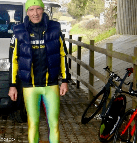 male cyclist wearing multicolor mens bicycle tights
