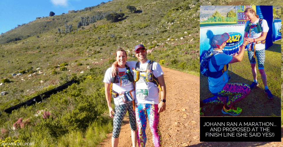 marathon runner wearing kapow party leopard meggings on mountain trail