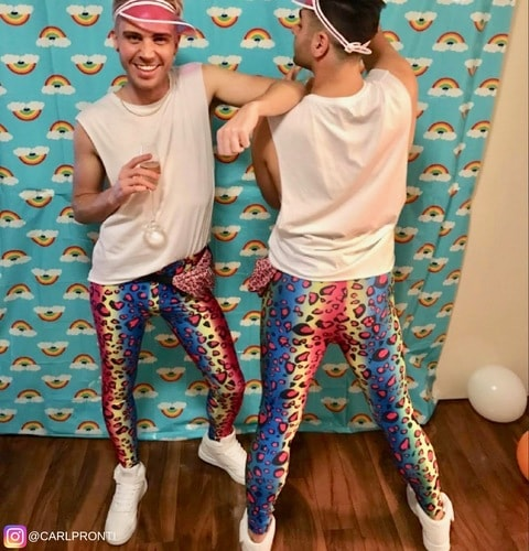 party boys at sydney mardi gras wearing matching colourful leopard print meggings