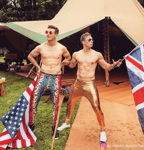 party guys at festival in colourful leopard print and shiny gold leggings