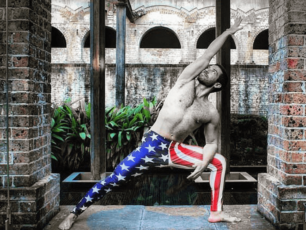 yoga instructor in ronny reagan american flag meggings