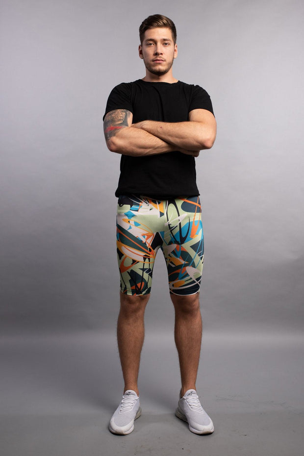 Electric Graffiti Compression Shorts Meggings Shorts Kapow Meggings