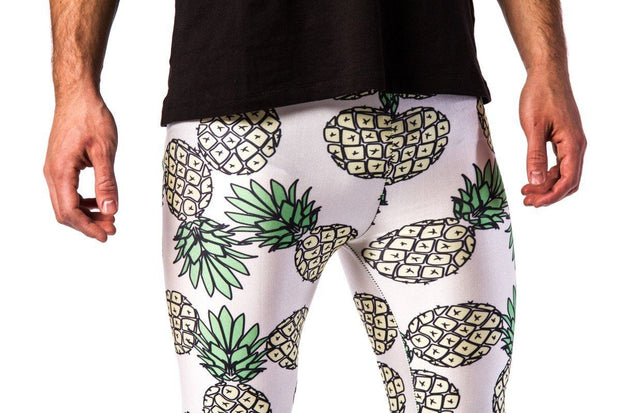 Kapow Meggings pineapple on white men's leggings close up zoom