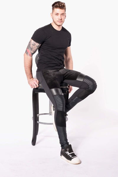 Hero Sabre mens leggings sitting on stool